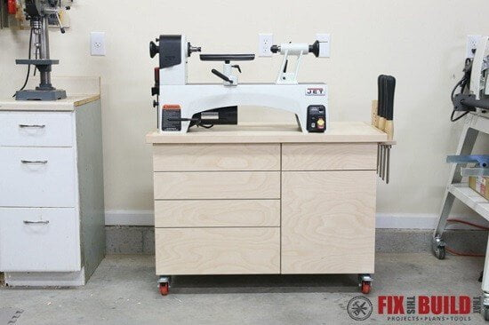 Mobile Wood Lathe Stand with Excellent Storage Tutorial