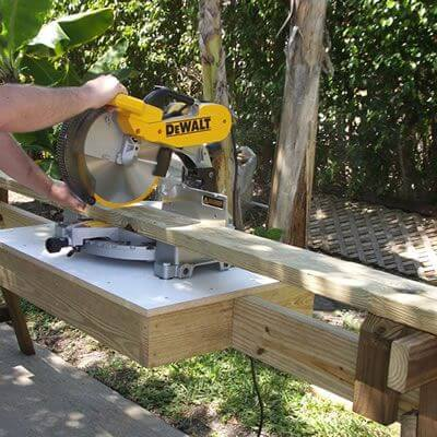 Sawhorse Styled Portable Miter Saw DIY Stand Plans