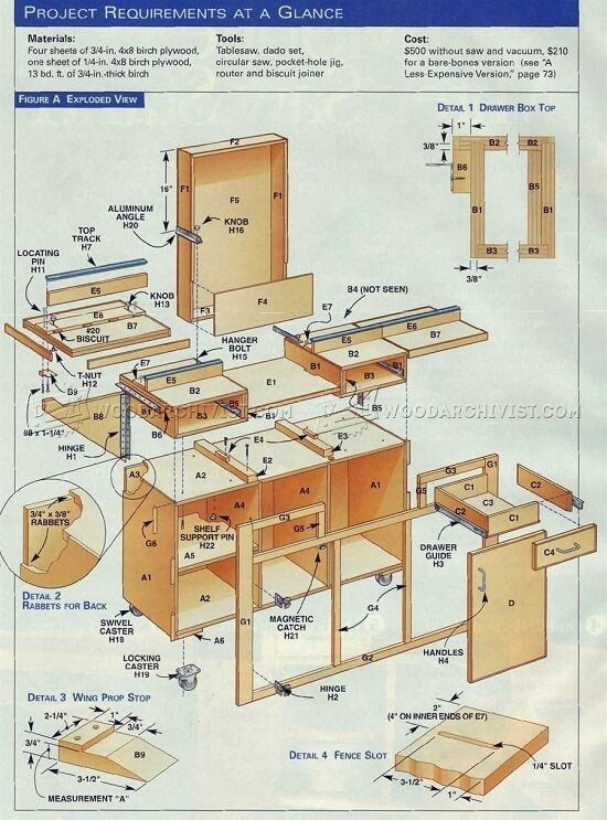 Mobile Miter Saw Stand with Flip-Up Sides DIY Plans