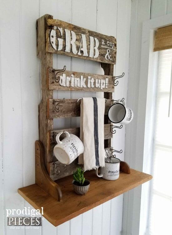 Pallet Mug Rack with Shelves Tutorial