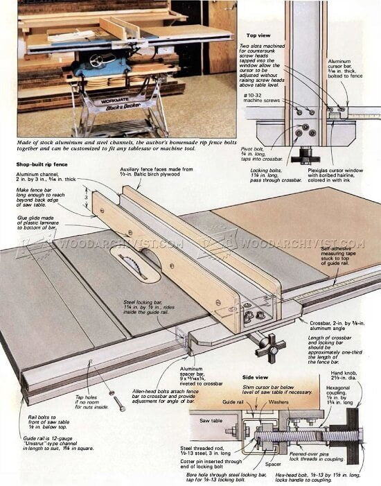 Biesemeyer T Square Inspired Diy Table Saw Fence Plans