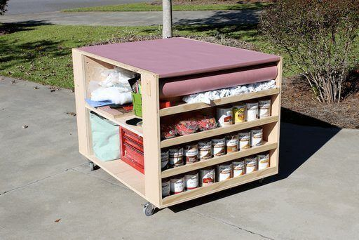 Portable DIY Workbench with Adjustable Shelves Plan