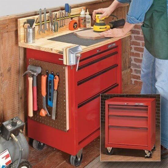 Compact & Pretty in Red Mobile Workbench Plans