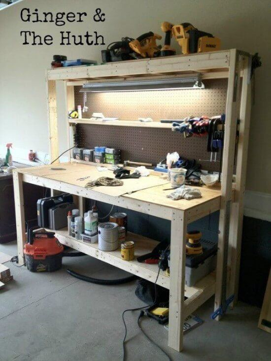 DIY Workbench with Overhead Light Tutorial