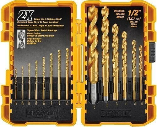 DeWalt DW1354 14-PC Titanium Brad Point Drill Bit Set