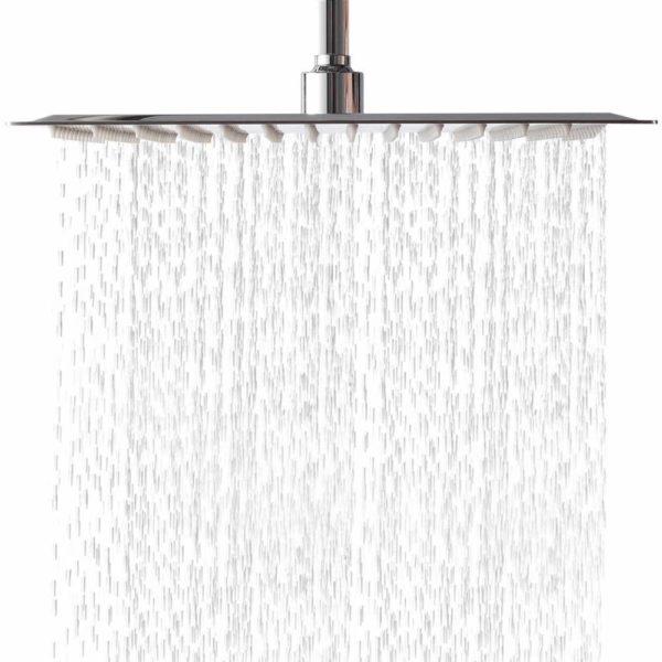 Lordear Square Ultra-Thin Stainless Steel 12-Inch Rain Showerhead